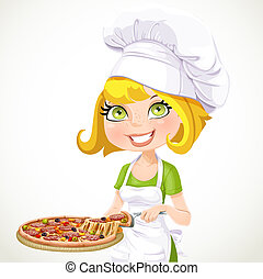 Girl chef offers taste of pizza - Cute girl chef offers a...