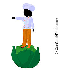 Girl Chef Silhouette Illustration