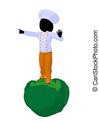 Girl Chef Silhouette Illustration - Girl chef with cabbagei...