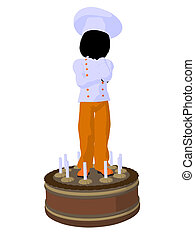 Girl Chef Silhouette Illustration - Girl chef with cake...