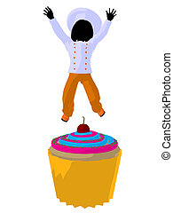 Girl Chef Silhouette Illustration - Girl chef with cupcake...