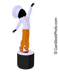 Girl Chef Silhouette Illustration - Girl chef with sushi...