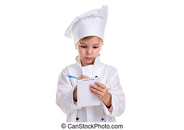 Girl chef white uniform isolated on white background. Holding and writing the note with a pen. Landscape image