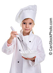 Girl chef white uniform isolated on white background. Holding the white drinking bowl with a whisk. Portrait image