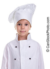 Girl chef white uniform isolated on white background. Portrait image