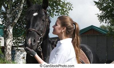 girl, chemise, gants, caresser, cheval, blanc