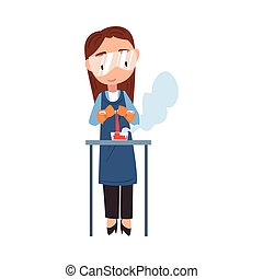 Girl Chemist Scientist, Student Character in Lab Coat and ...