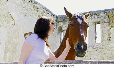 girl, cheval, caresser