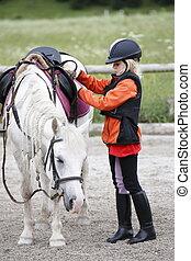 girl, cheval