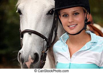 girl, cheval, jeune