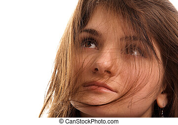 girl, cheveux brun