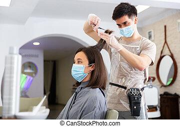 girl, cheveux, coupures, mâle jeune, masque, coiffeur