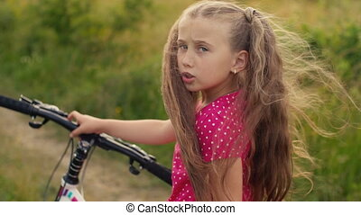 girl, cheveux, vélo, long, promenades