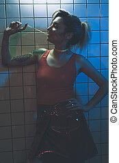 girl chewing bubble gum - beautiful seductive girl chewing...