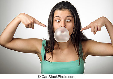 girl, chewing gum