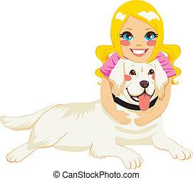 girl, chien, étreindre