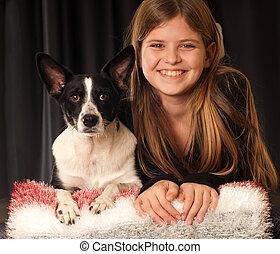 girl, chien, elle