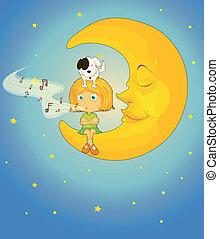 girl, chien, lune