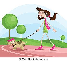 girl, chien marche