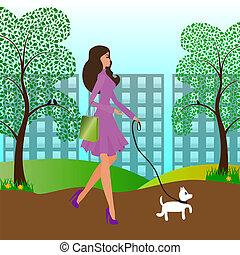 girl, chien marche, joli
