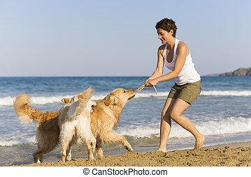 girl, chiens, jeune, elle, jouer