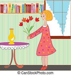 Girl child arranging flowers in the room cartoon