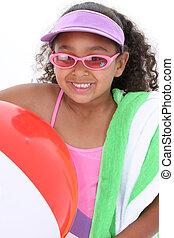 Girl Child Beach Fun - Adorable Young Girl Ready for the ...