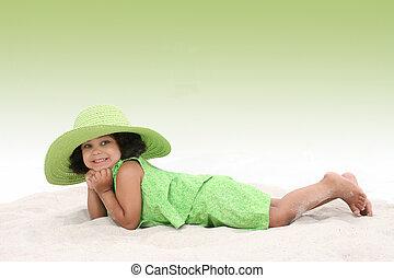 Girl Child Beach Fun - Beautiful Young Girl Laying In the...