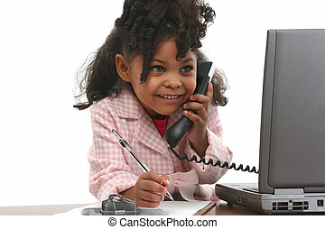 Girl Child Computer - Little business woman using phone,...