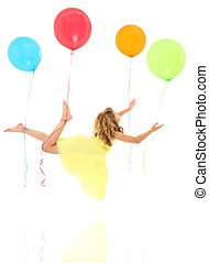 Girl Child Floating Away with Balloons Clipping Path -...