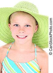 Girl Child Hat Green
