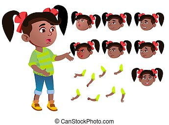 Girl, Child, Kid, Teen Vector. Black. Afro American. Beautiful. Youth, Caucasian. Face Emotions, Various Gestures. Animation Creation Set. Isolated Flat Cartoon Character Illustration
