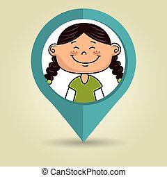 girl child kids icon