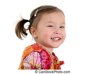 Girl Child Laughing - Close-up of two year old Japanese...