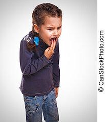 girl child little vomits burps poisoning and vomiting emotion background