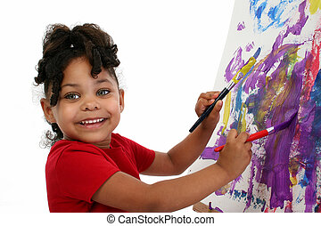 Girl Child Painting - Three-year-old African-American girl...