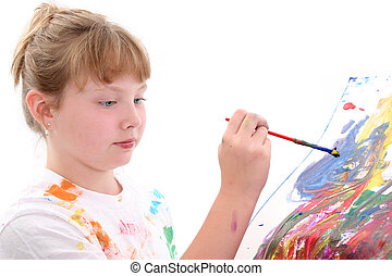 Girl Child Painting - Young girl painting on poster board.