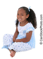 Girl Child Pajamas - Beautiful Six Year Old Girl Sitting In...