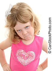 Girl Child Pout Sad - Adorable 4 Year Old Girl Pouting with...