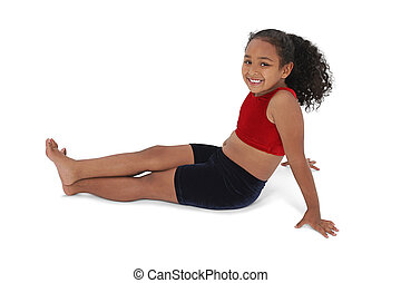 Girl Child Sitting - Beautiful Little Girl In Workout...