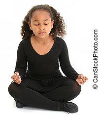 Girl Child Yoga - Beautiful African American girl sitting on...
