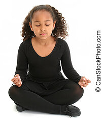 Girl Child Yoga - Beautiful African American girl sitting on...