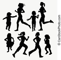 Girl, children running silhouettes