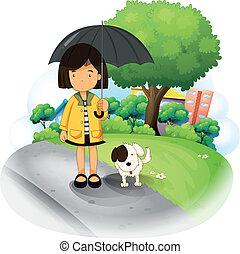girl, chiot, parapluie, route
