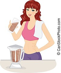 Girl Chocolate Protein Shake - Illustration of a Woman...