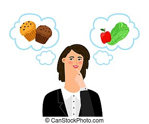Girl chooses between unhealthy and healthy food. Diet, dietology vector concept