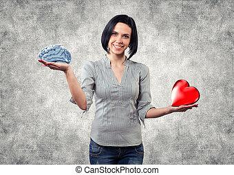 Girl chooses love - Beautiful girl chooses between brain and...