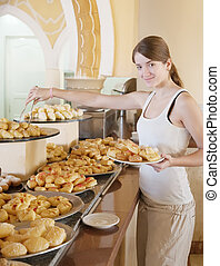 girl chooses sweet meal