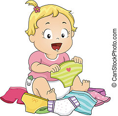 Girl Choosing Underwear - Illustration of a Baby Girl...