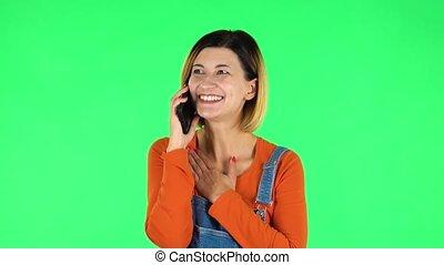 girl, choqué, vert, très, conversation, écran, téléphone, ...